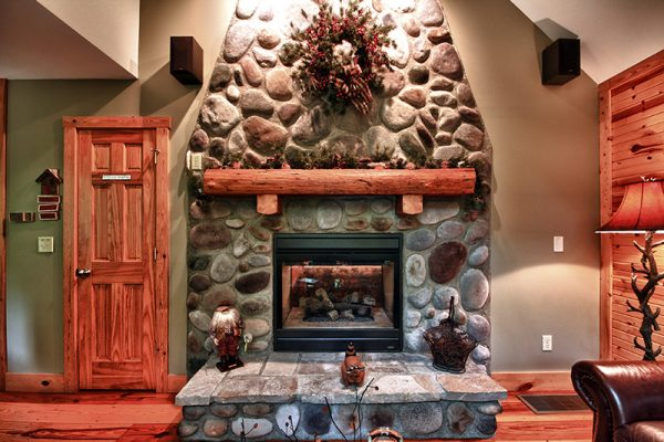 Cherry Ridge of Hocking Hills deluxe Cottages stone fireplace