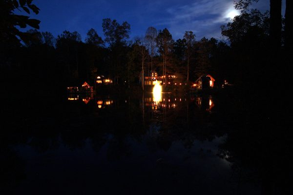 Cherry Ridge of Hocking Hills Luxury Lodge lake view at night