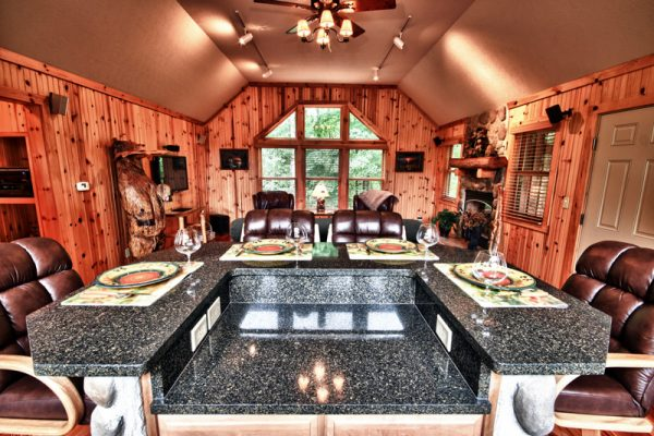 Cherry Ridge Retreat of Hocking Hills Ravines Edge luxury cabin fireplace
