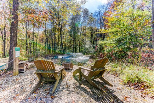 Cherry Ridge of Hocking Hills Whispering Pine outdoor pond view fire pit
