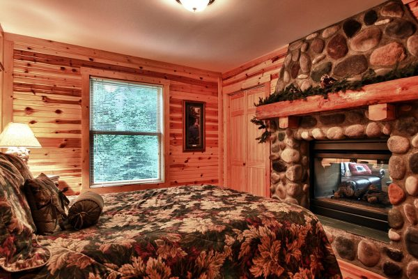 Still Waters Hocking Hills Cabin Fire Interior Bedroom