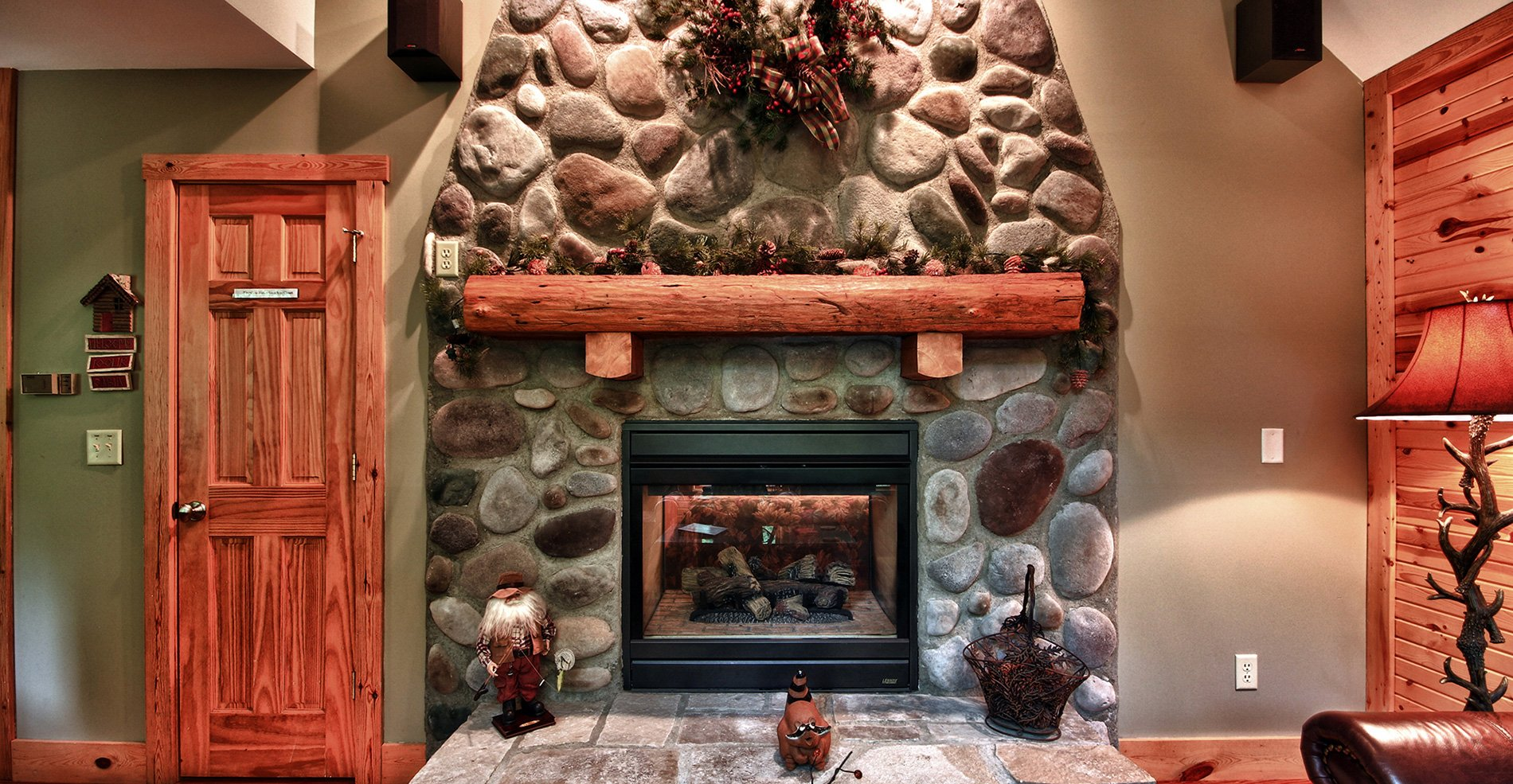 Whispering Pines Hocking Hills Cabin Fireplace