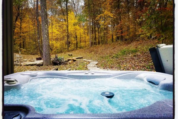 Hot tub in foreground, autumn trees in the back