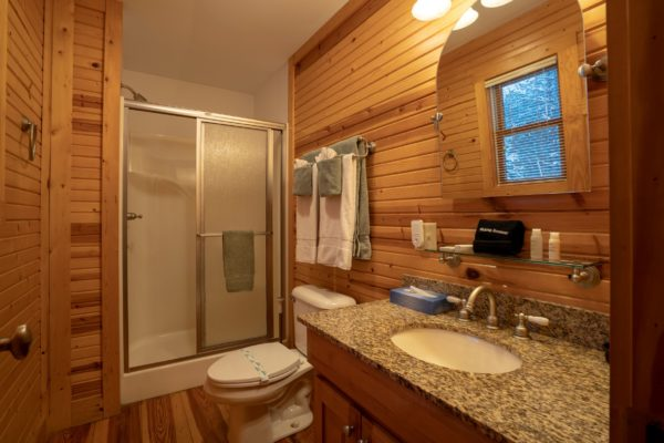 Waters Edge Luxury Family Cabin Bathroon