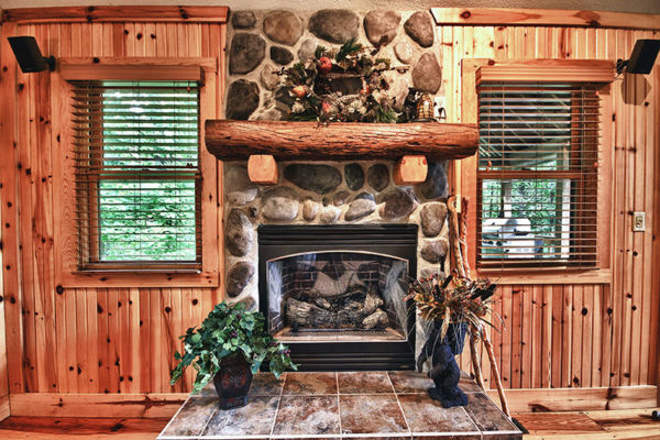 Stone Fireplace, wooden cabin interior