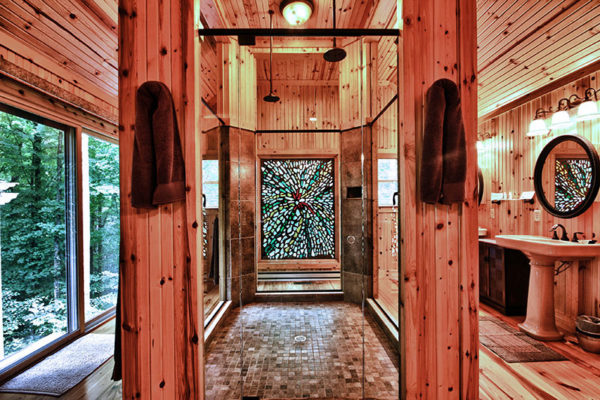All Glass Shower, with Stained Glass inlay, 4 wooden beams, one at each corner