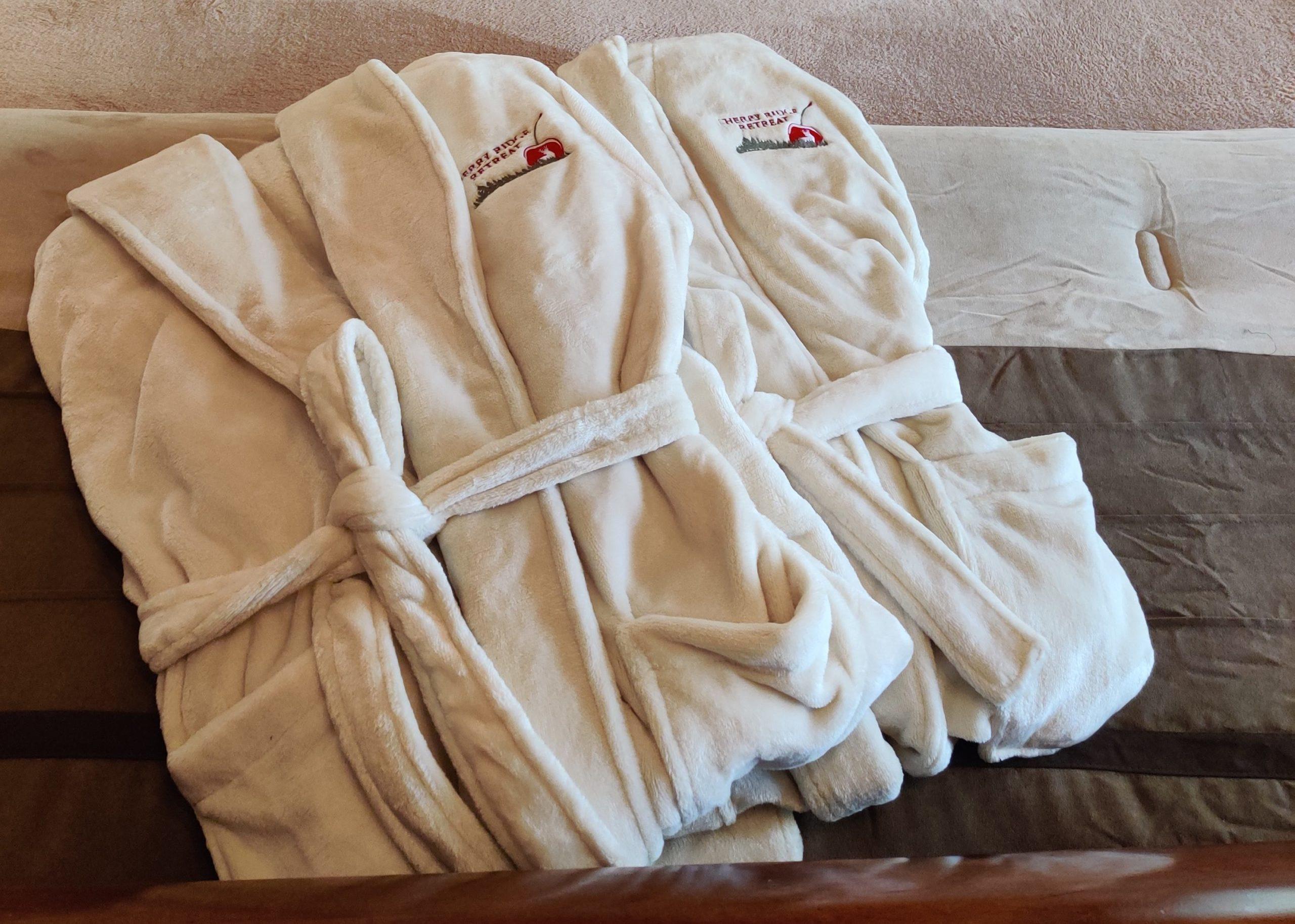 Folded luxury plush robes